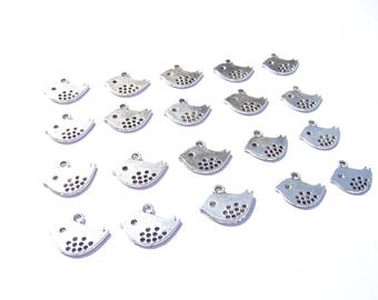 Set of 20 charms/pendants charms silver birds accessories to decorate your