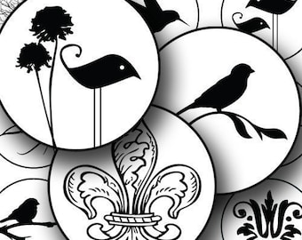 Black and White Silhouette Birds and Swirls in 1.5 inch circles, Commercial Use Collage Sheet, Instant Download, Round Images, piddix 615
