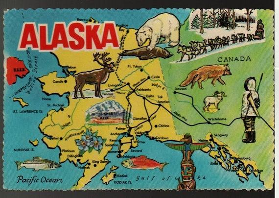 Alaska the 49th State + Alaska Joe + Vintage Cartoon Map Postcard