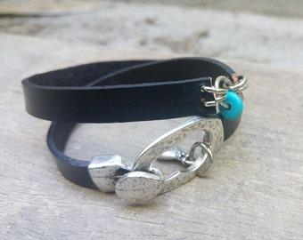 Statement Bracelet, Womens Wrap Bracelet, Leather Hook Bracelet, Statement Wristband, Double Wrap Wristband, Leather Wrap Jewelry