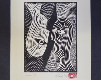 Inverse | Original handmade linocut print | Black and white | Geometric portrait | Limited edition art