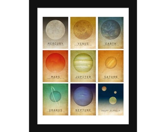 Solar System Poster Print, Planets Poster,  Kids Room Geek Decor, Outer Space Poster, Planet Print, Astronomy Teacher Gift, Astronomer Gift,