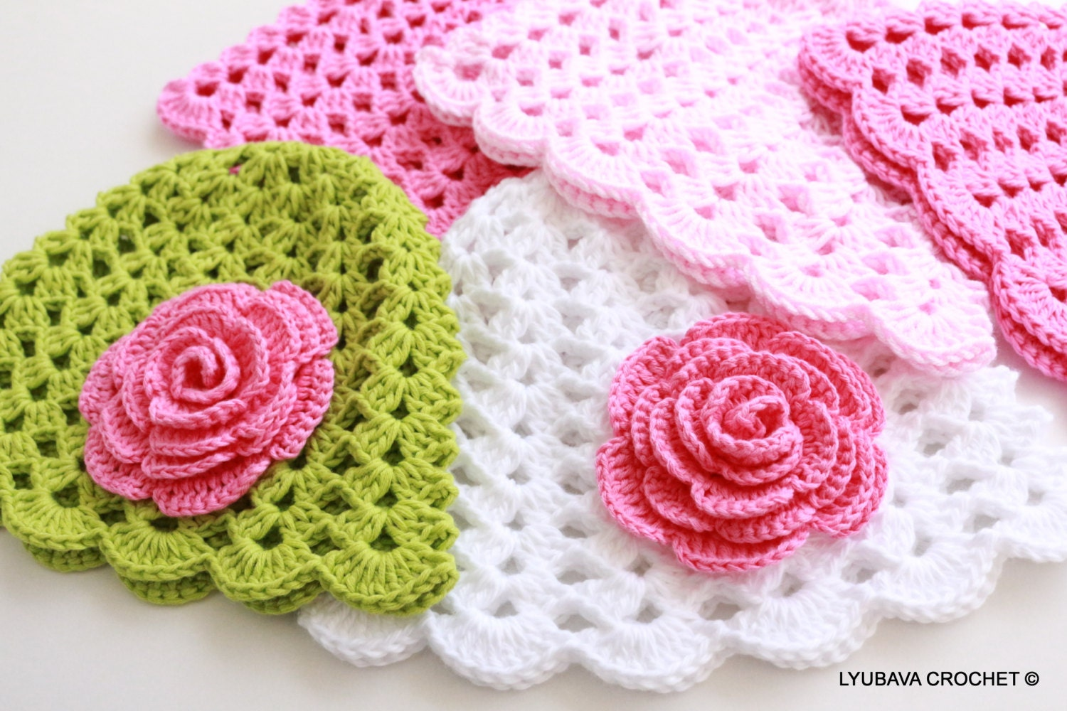 Crochet PATTERN Baby Hat With Rose Flower Pattern Baby Girl