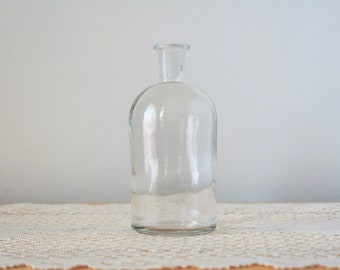 Vintage Clear Glass Apothecary Bottle