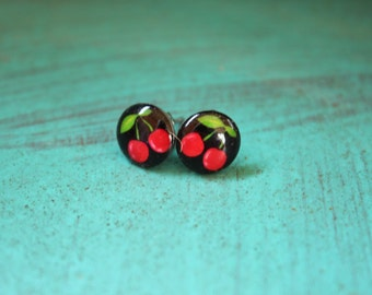 Cherry Stud Earrings -- rockabilly jewelry, 50s style, 60s style, pinup style