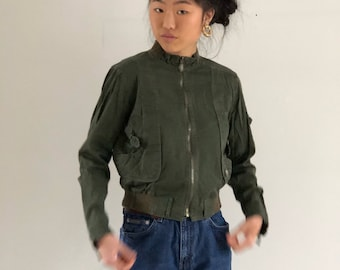 army green cropped bomber / vintage bomber / cropped cotton jacket | xs s