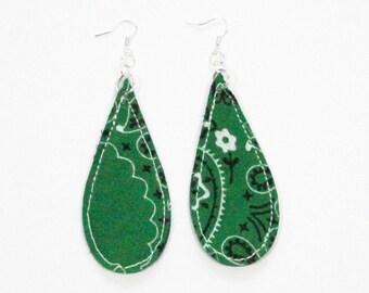 Green Bandana Leather Earrings, Boho Earrings, Teardrop Leather Earrings, Bandana Western Jewelry