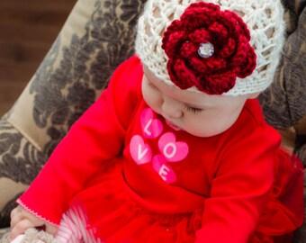 Newborn Hospital Hat, Baby Girl Hat, Crochet Baby Hat, Baby Beanie, Winter Hat
