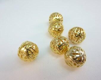 6 filigree gold tone 10mm beads