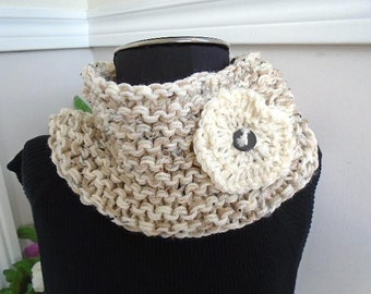 KNITTING PATTERN, Cowl Pattern, Crazy Easy Cowl and Flower, One hour -one skein, #816 - Oatmeal chunky cowl