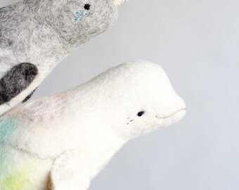 Lulu - Beluga Whale Toy, White Whale,  Art Felt Toy,  Stuffed plush toy, nursery decor, for kids, Felted Whale, Sea, aquamarine, pastel.
