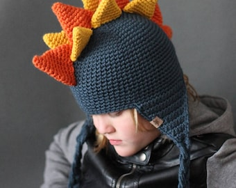 CROCHET PATTERN -  Crochet Dinosaur Hat - Beginner Crochet Pattern - Crochet Beanie Pattern - Sizes Newborn to Adult - Instant PDF Download