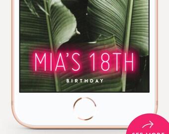 Birthday Snapchat Filter Birthday Snapchat Geofilter Birthday Snapchat Birthday Geofilter Birthday Filter Birthday Snap Chat Neon Design