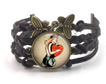 Sailor Jerry Bracelet, Sailor Jerry Jewelry, Rockabilly Bracelet, Sailor Jerry, Retro Bracelet, Pinup bracelet, tattoo, gift for her, 21