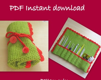 PDF crochet pattern. Tutorial. Crochet hook holder. Instant download. Permission to sell items made from this pattern.