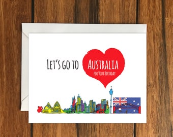 Australia card etsy lets go to australia for our anniversary blank greeting card a6 holiday gift idea m4hsunfo