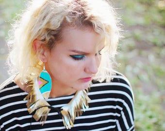 Geometric Earrings, Tribal Earrings, Boho Earrings, I love the 80s, Painted Feathers, Festival Earrings, Bohemian, Boho, Hippie, Bridesmaids