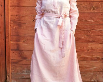 Fall Dress, Plus Size Linen Dress, Women Fall Clothing, Shirt Dress, Kaftan Dress, Pink Linen Dress, Women Maxi Dress, Pink Dress