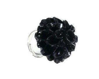 Dahlia Mum, Black  Adjustable Ring