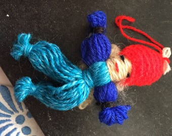 swedish gnom , handmade, wool, christmas, croched cap, 12 cm or 5 inch