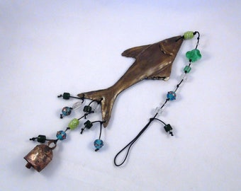Brass Flying Fish or Shark Bead & Bell Hanging, Wind Chime-For Beach House, Cottage, Cabin-Sparkling Blue, Green, Clear Beads-Garden Shimmer