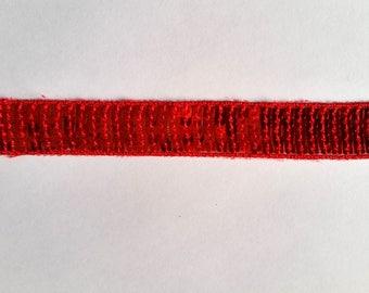 Stripe glitter red 22mm