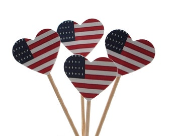 12 Fourth of July Cupcake Toppers, American Flag Heart, Food Picks - No702