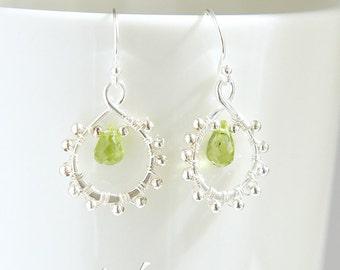 Green peridot tiny sterling silver earrings with genuine green peridot briolette cut gemstones, wire wrap dainty earrings, August birthstone