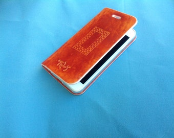 iPhone 5/5s, 6/6s, 7 leather case with clear plastic holder inside, pyrography, hand crafted