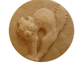 Halloween 'Scaredy Cat' Cookie Mold for Halloween Baking Desserts and Arts & Crafts hand built Stoneware