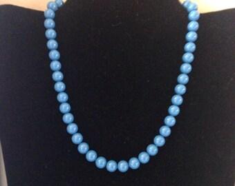 Swarovski elements ( pearl beads), swaroski necklace , blue Swarovski necklace , bridesmade jewellery , gifts for her