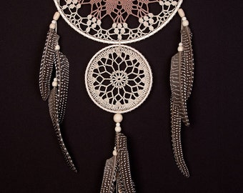 Large Beige Brown Dream Catcher Handmade Crochet Doily Dreamcatcher feathers boho dreamcatchers wall hanging wall decor