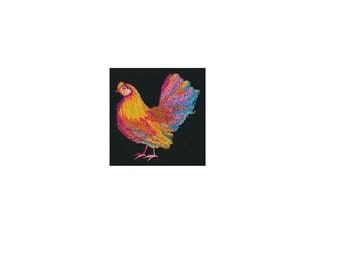 Vibrant Hen in Watercolor - I Will Machine Embroider This Design On To Your Custom Item