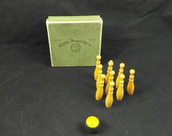 bowling game, table bowling, vintage game, vintage toy, bowling, bowling toy, toy in box, wooden toy, wood game