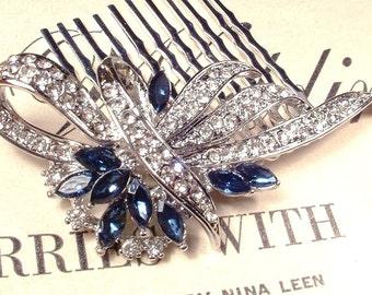Something Blue Wedding Hair Comb, Sapphire & Clear Rhinestone Bridal Great Gatsby Art Deco Silver Brooch 1920s Accessory Navy Blue Headpiece
