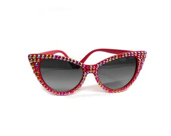 SUNSET Red Rainbow Bling Cat Eye Sunglasses Sparkly Sunglasses Glitzy Rhinestone Cats Eye Glasses Retro Pin Up Sunnies 50s Rockabilly Shades