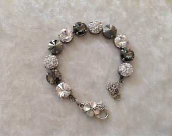 Crystal bracelet, swarovski crystal bracelet, 12mm, black diamond, hemitate, crystal, and BLING.. Optional flower clasp