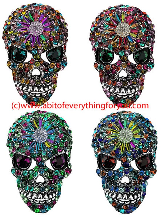 crystal rhinestone skulls day of the dead clipart digital download die cuts craft cut outs sheet graphics images printables