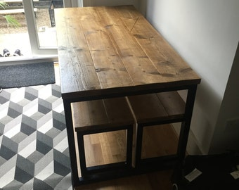 ELDING (Dining) 1 Large- Handmade Industrial Chic Reclaimed Wood & Steel Box Leg Table with matching bench. Custom Made To Order.