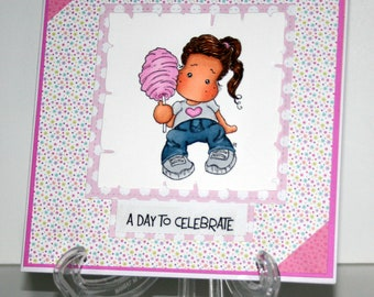 Adoable handmade A Day to Celebrate card featuring Tilda