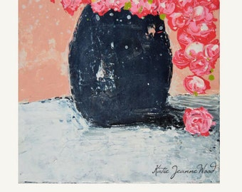 Pink Flower Painting Print. Still Life Floral Art Prints. Romantic Roses Print. Gift for Her. Bedroom Wall Decor. No 8