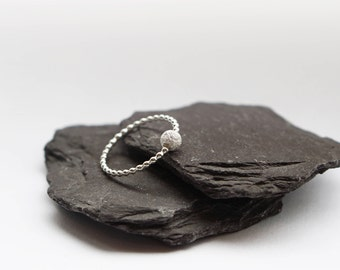 Beaded Frosted Sterling Silver Fidget Ring ~ stacking ring, stackable, silver band, gift, worry ring, fidget ring, spinner ring, anxiety