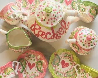 Colorful paisley Tea Party  Personalized Little Girl's Tea Set  Handpainted. . .
