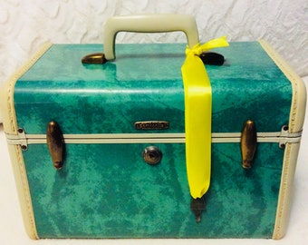 Rare Vintage 1950s SAMSONITE Train Case Key Green Marble Travel Makeup Cosmetic Luggage Carry On Storage Case