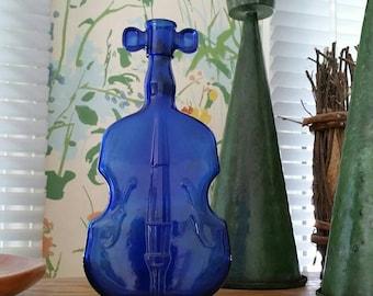 Vintage Cobalt Blue Glass Violin Cello Bottle Flower Vase Flask Collectible Glass Molded Glass