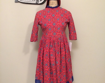 Girl's Red and Blue Prairie Costume and Bonnet | Vintage Costume | Country Western| Farmer | Laura Ingalls Wilder | Settler | Early American