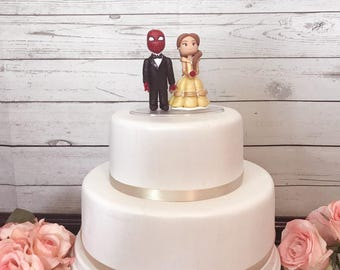 Belle and Spider Man Wedding Cake Topper