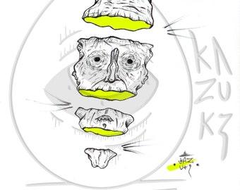 Printing from a original freehand drawing poster interior decoration matte gloss street art Broken Kazuki