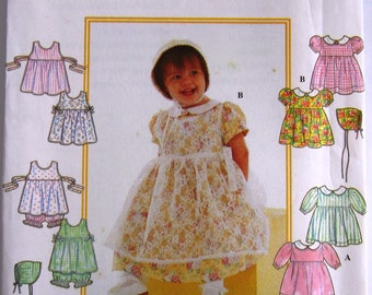 Baby Girls Dress, Pinafore, Panties and Bonnet Sizes NB S M L Simplicity Pattern 8538 UNCUT