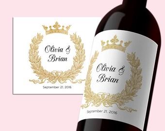 PDF Template 3,5x4 Editable Wine Label INSTANT DOWNLOAD Wedding Wine Bottle Labels calligraphy Printable Laurel wreath Wine Labels Digital